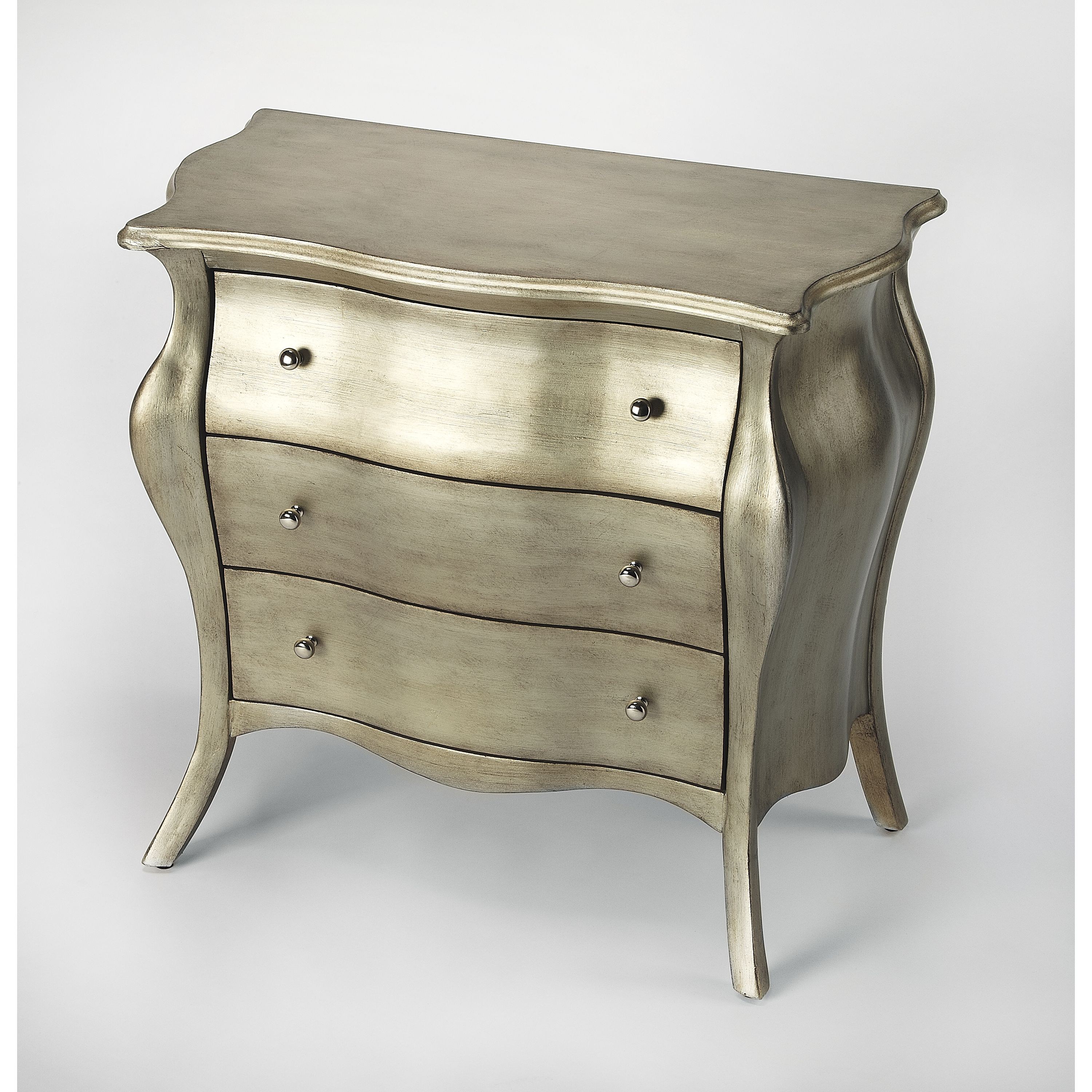 Butler Francine Brushed Pewter Painted Bombe Chest