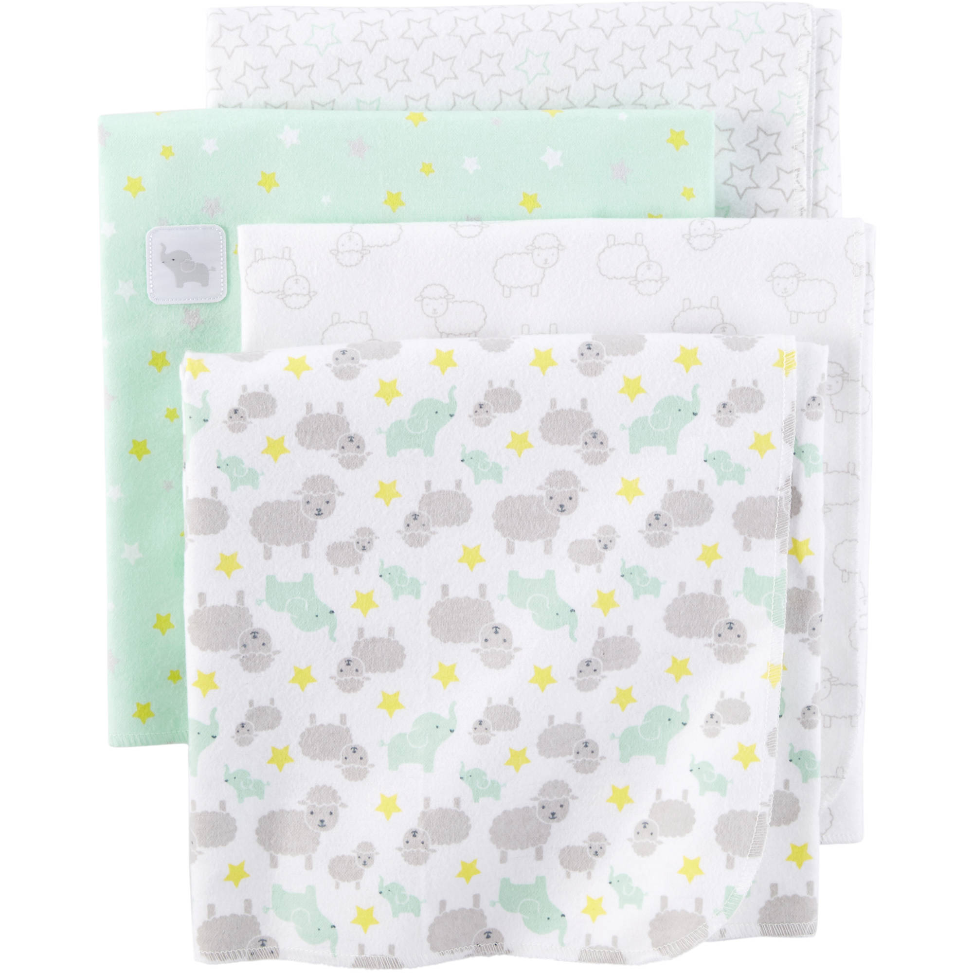 Child of Mine Newborn Baby Flannel Receiving Blanket, 4pk, Green