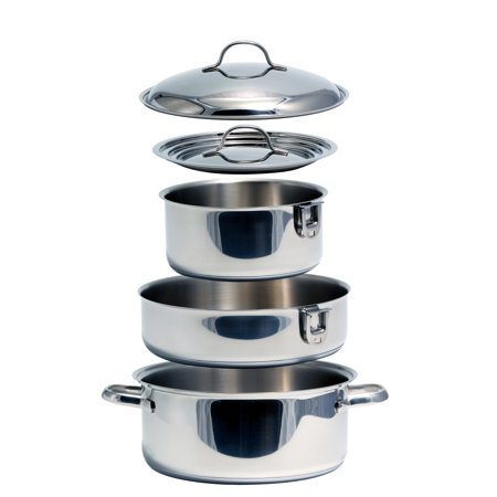 Camco Premium Ceramic Nesting Cookware Set- Non Stick Pans and Pots with Removable Handles, Space Efficient Excellent for RVs and Compact Kitchens, 7-Piece Set (43920)
