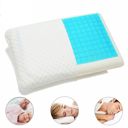 Gel Memory Foam Pillow Reversible Cool Gel Pillow Standard Sized Cooling Bed Pillow Luxury Hypoallergenic Memory Pillow Neck Pain Side Sleeper Deluxe Breathable Thick Gel