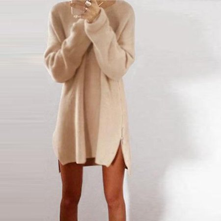 Autumn Winter Women's Fashion Side Zip Casual Knitted Sweatshirt Leisure Soft Sweater Dress