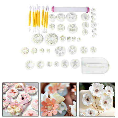 Tbest Sugarcraft Cutter Tools,Fondant Cake Decorating Flower,46pcs Fondant Cake Decorating Flower Sugarcraft Cutter Tools Cookies Icing Mold