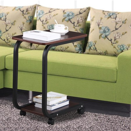 Ktaxon Portable Sofa Side End Snack Tray Rolling Table
