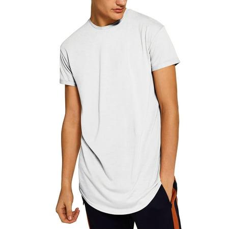 Ma Croix Men's Hip Hop Casual Longline Hipster Urban T-Shirts Urban Blue Camo