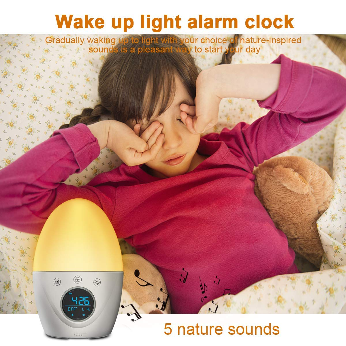 Updated ver-FiveHome Kids Alarm Clock Wake Up Light ,Colour Changing &  Dimmable Night Light,Touch Control, Optional Weekday Alarm, Snooze,Sleep