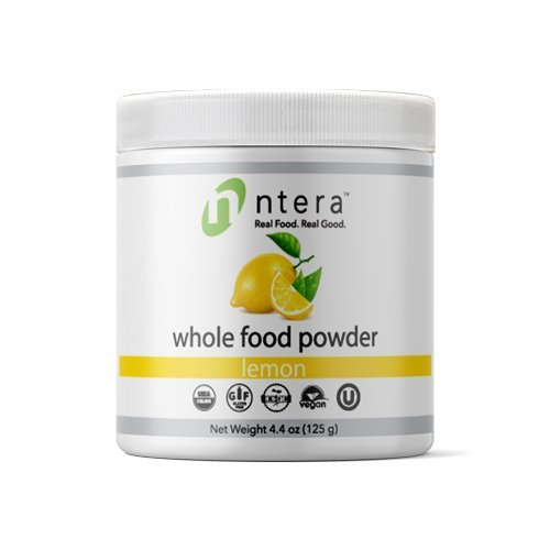 NTERA Lemon Whole Food Powder (USDA Organic, Gluten-Free, Non-GMO, Vegan, Kosher) – Ultra Premium Raw Nutrition (USA, GMP) – 125 Grams (4.4 Ounces)