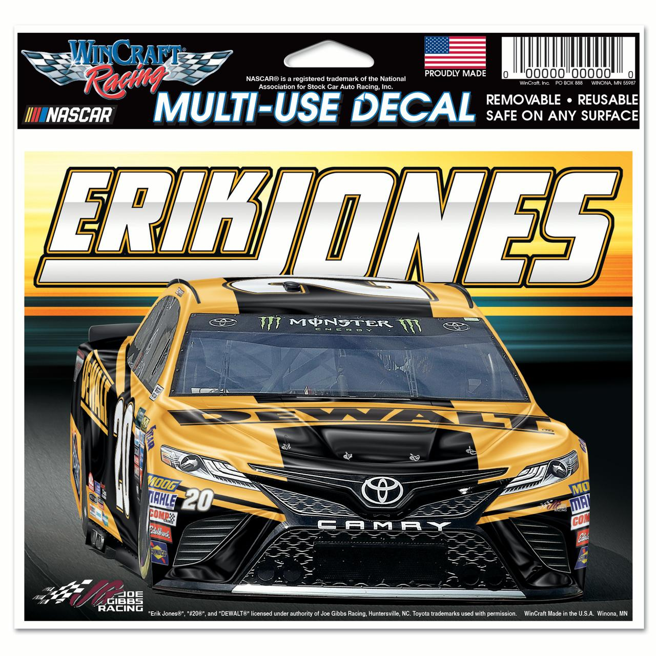 "Erik Jones WinCraft 4.5"" x 6"" Car Multi-Use Decal - No Size"