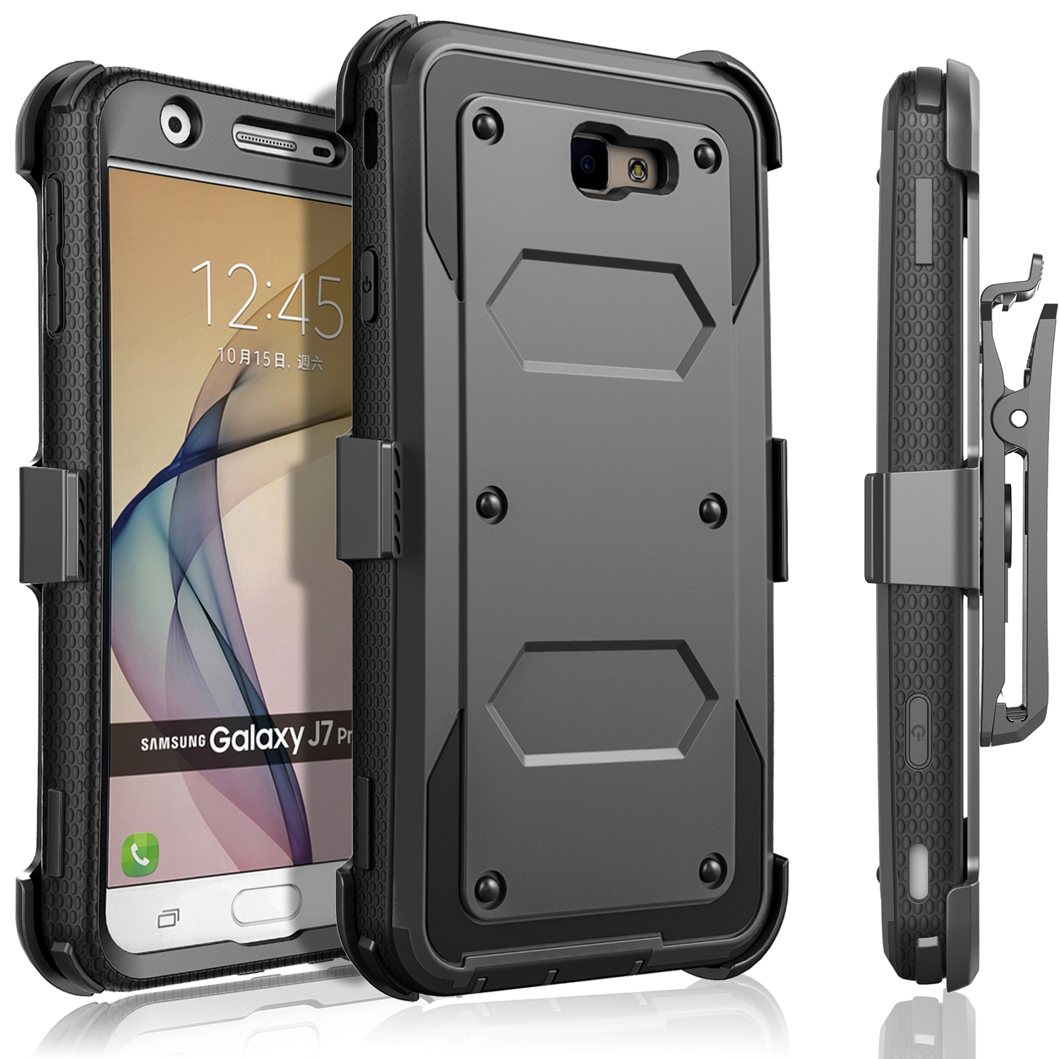 Galaxy J7 V Case, Galaxy J7 Perx Case, Galaxy J7 Sky Pro Case, [SUPER GUARD] Dual Layer Protection With [Built-in Screen Protector] Holster Locking Belt Clip+Circle(TM) Stylus Touch Screen Pen (Black)