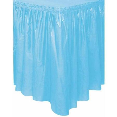 Plastic Table Skirt, 14 ft, Light Blue, 1ct - Plastic Table Skirts Cheap