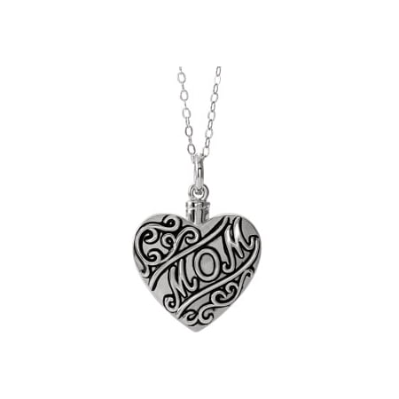 "Jewels By Lux Sterling Silver ""Mom"" Heart Ash Holder 18"" Necklace"