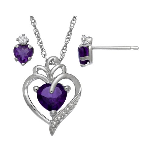 1.128 Carat T.G.W. Lab-Created Amethyst and CZ Sterling Silver Heart Pendant and Earrings Set