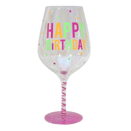 Wine Glass Boxes (Topshelf Decorative Luster Glass Oversized Happy Birthday Wine Glass with Gift)
