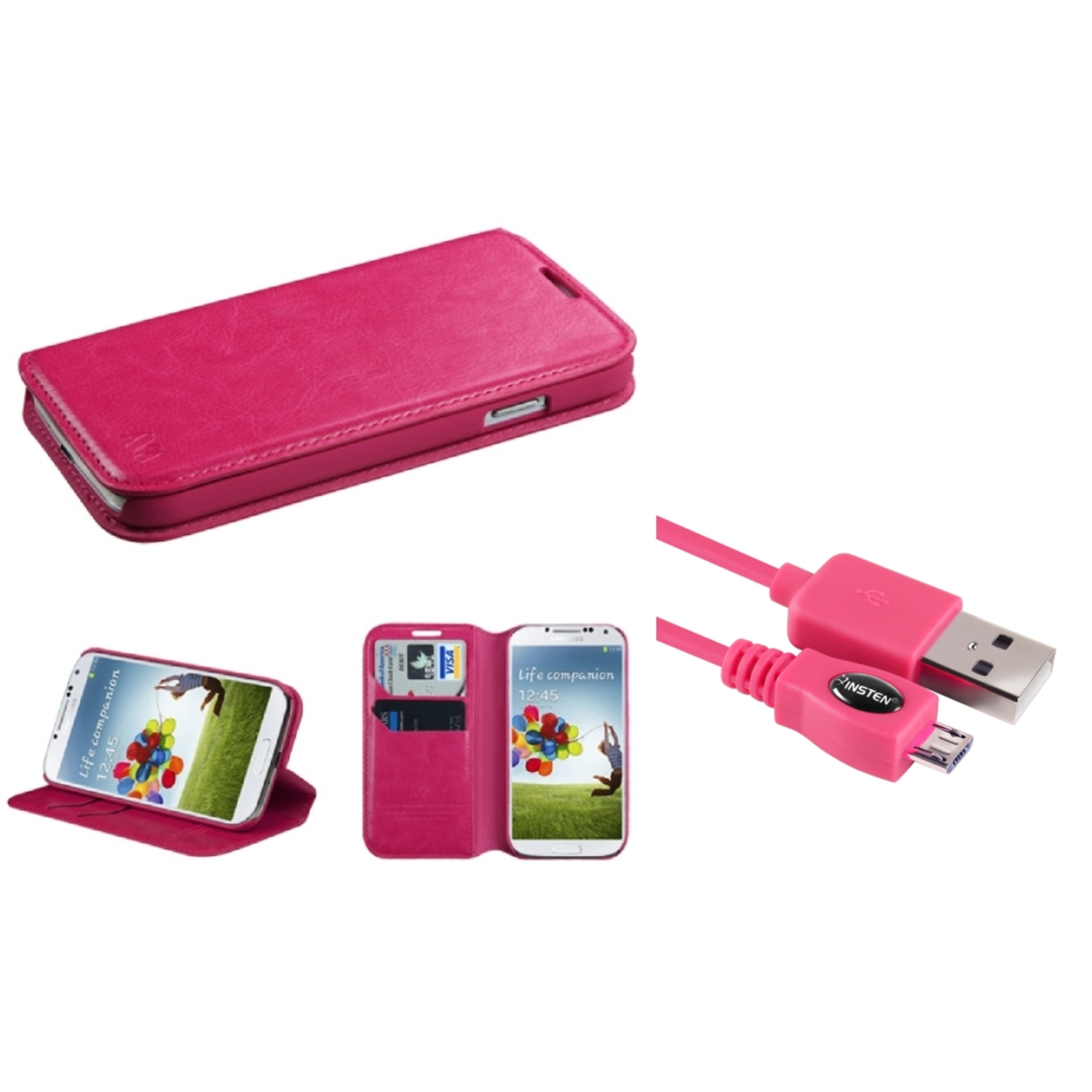 Insten Hot Pink MyJacket Wallet Case with Tray 563 For Samsung Galaxy S4 (+Free USB Charging Cable)