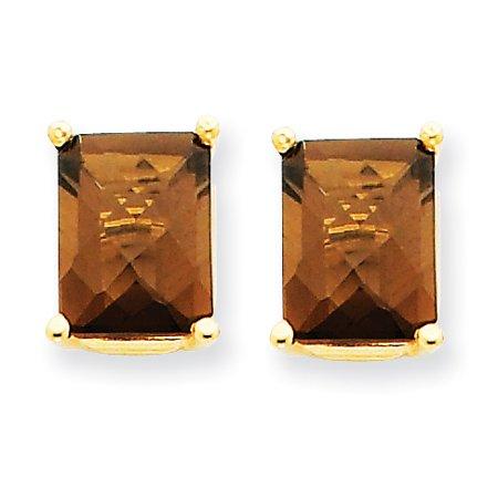 (14k Yellow Gold 9x7 Octagon Checker Cut Smoky Quartz Post Stud Ball Button Earrings Gemstone For Women)