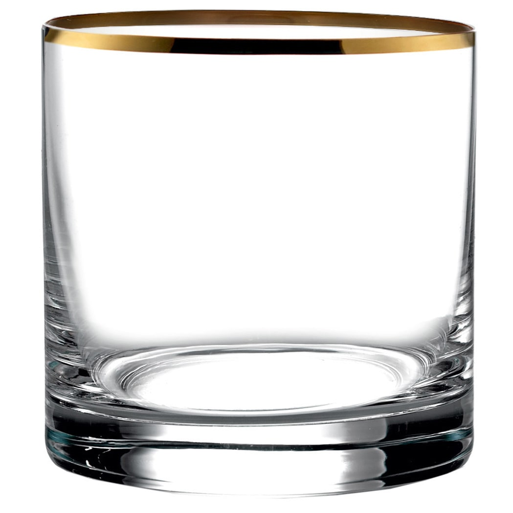 Michel Gold-Rimmed DOF Double Old Fashioned Whiskey Glasses Drinkware Barware Glassware, Set of 4