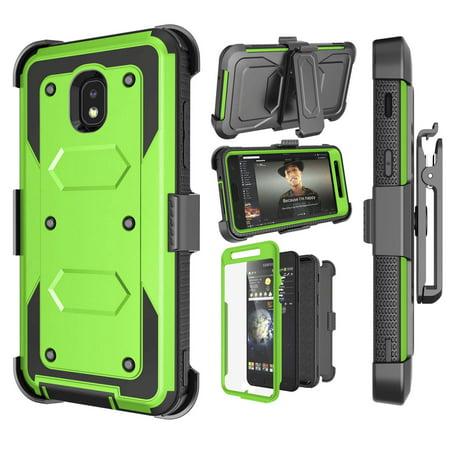 Tekcoo Samsung J3 2018 Case, Galaxy J3 V 3rd Gen / Sol 3 / Express Prime 3 / Amp Prime 3 / J3 Eclipse 2 / J3 Orbit / J3 Achieve / J3 Aura / J3 Star Holster, Stand Belt Clip Buit in Screen