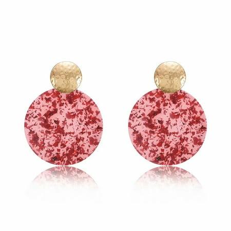 Cherry Quartz Briolette Earrings (Ladies Fashion Retro Acrylic Geometric Round Drop Earrings Eardrop Women Gift Jewelry,Cherry )