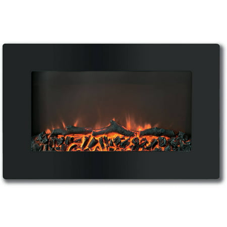 "Cambridge Callisto 30"" Wall-Mount Electronic Fireplace with Flat-Panel and Realistic Logs"