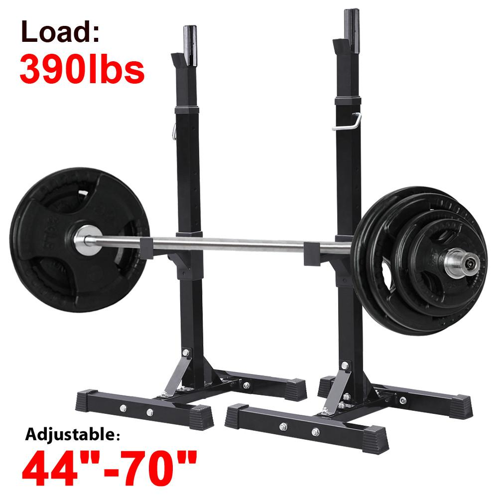 YaHeetech 2pcs Adjustable Rack Standard Solid Steel Squat Stands Barbell Free Press Bench by Yaheetech