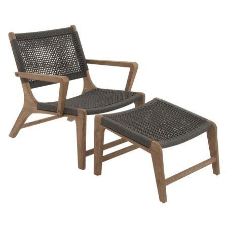 Rope Patio Furniture.Decmode Great Outdoors Wood Rope Patio Chair With Ottoman