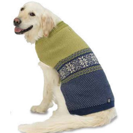 Pet Rageous 9504glg Stormy S Snowflake Sweater Large Green Navy