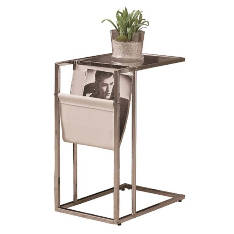 Atlin Designs Glass Top End Table with Magazine Rack in Chrome by Atlin Designs