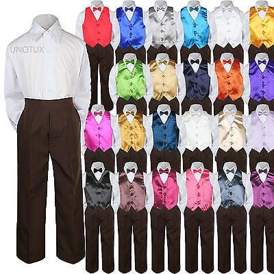 23 Color 4 Pieces Brown Vest set Bow Tie Boy Baby Toddler Formal Tuxedo Suit S-7 (Boys White Communion Suit)