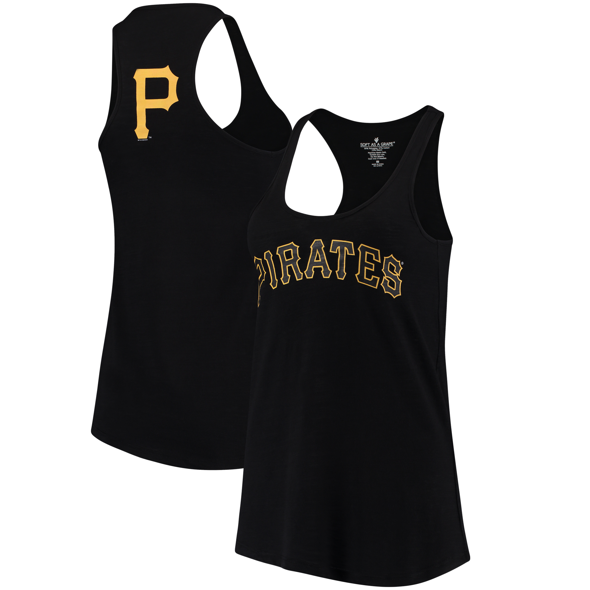 Pittsburgh Pirates Soft As A Grape Women's Front & Back Tri-Blend Racerback Tank Top - Black