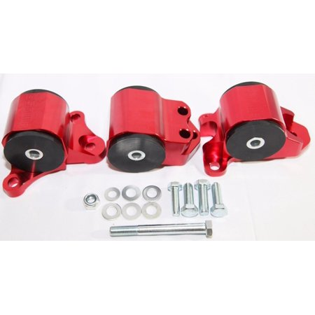 ENGINE MOUNT KIT RED for 96-00 Civic B/D Series Motor Mounts 3 Post - Pasta Motor