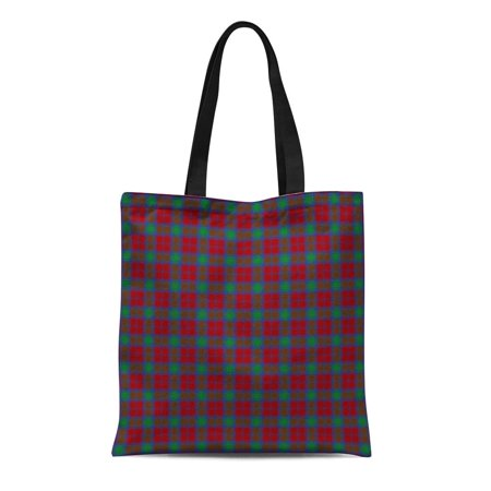 KDAGR Canvas Tote Bag the Clan Lindsay Tartan Plaid Scottish Scotland Reusable Handbag Shoulder Grocery Shopping Bags