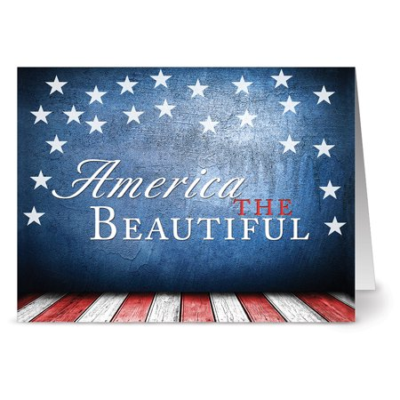 24 Patriotic Note Cards - America the Beautiful - Blank Cards - Red Envelopes Included