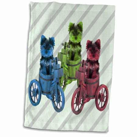 3dRose Teacup yorkies on bikes. Blue, green, red. Pop art. Puppy, animal. - Towel, 15 by - Poppy Teacup