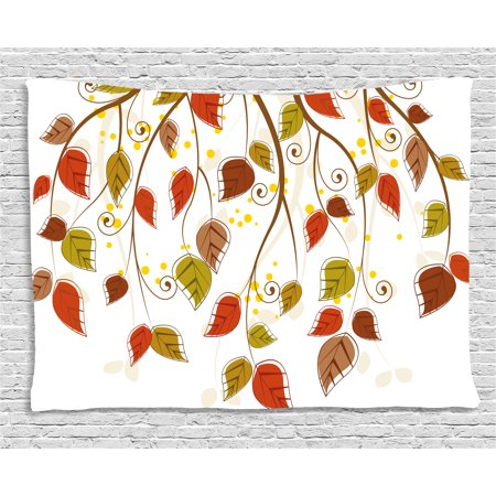 Autumn Tapestry, Branches with Fall Leaves Seasonal Colors Nature Environment Foliage, Wall Hanging for Bedroom Living Room Dorm Decor, 60W X 40L Inches, Burnt Sienna Brown Green, by