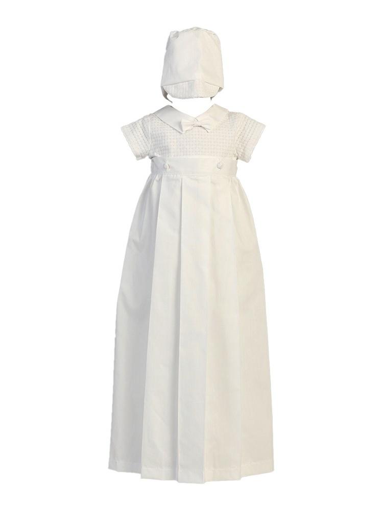 Baby Boys White Detachable Gown Cotton Weaved Romper Christening Set 6-12M