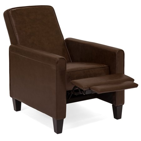 Modular Overstuffed Upholstered Chair - Best Choice Products Modern Sleek Upholstered PU Leather Padded Executive Recliner Club Chair w/ Leg Rest - Brown