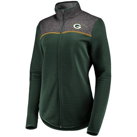 Women's Majestic Green Green Bay Packers Linear Leap Full-Zip Jacket