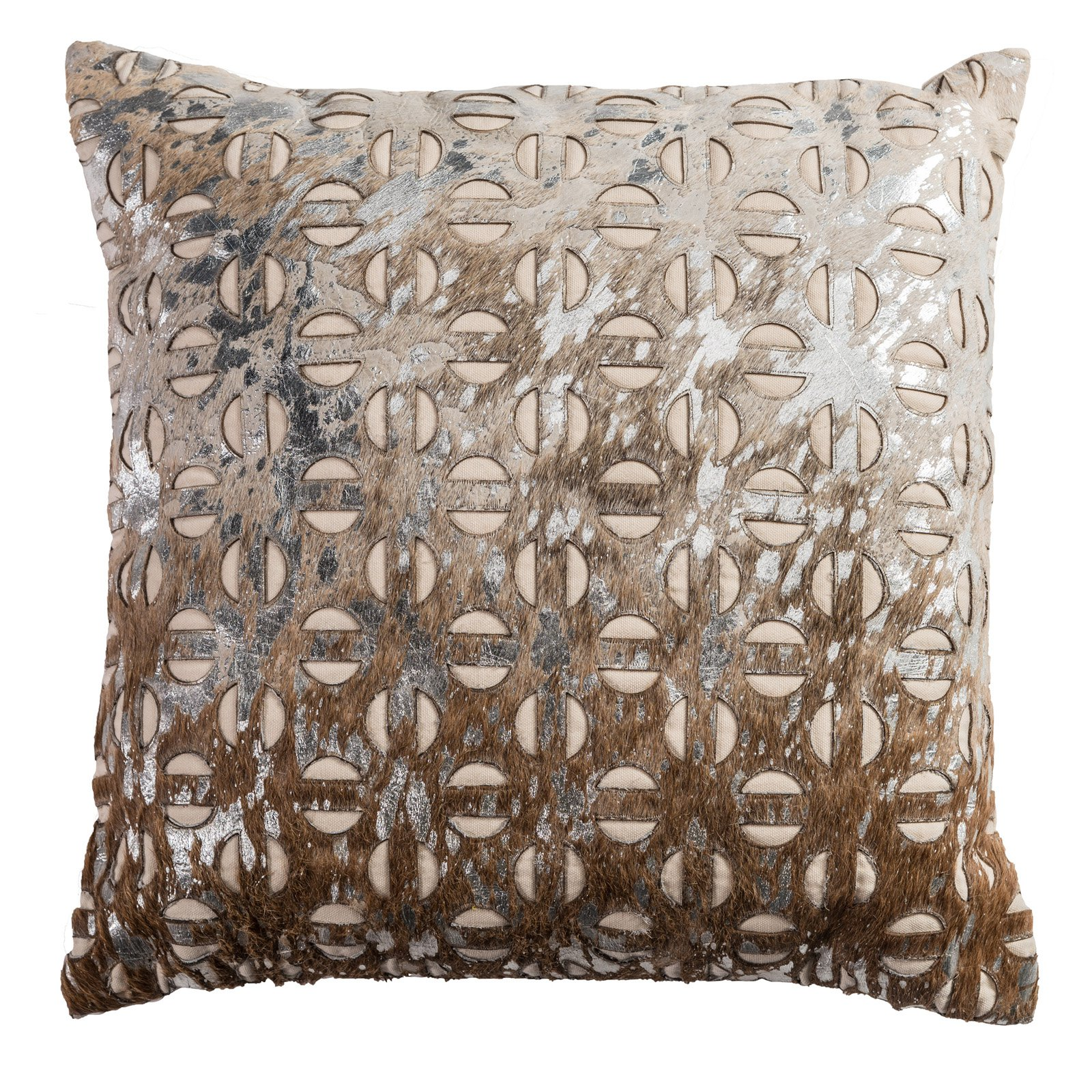 "Rizzy Home Decorative Poly Filled Throw Pillow Geometric 20""X20"" Gold"