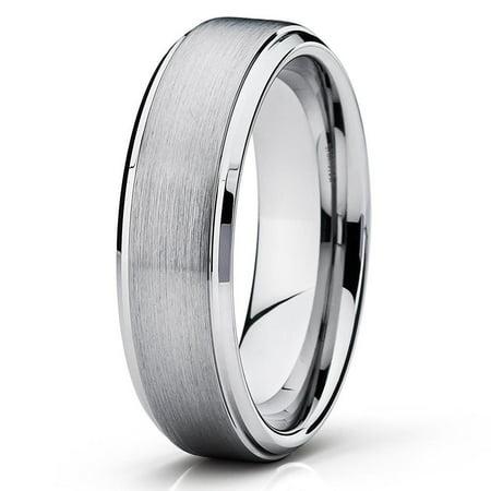 Tungsten Wedding Band Silver Tungsten Ring 6mm Tungsten Carbide Brush Polish Comfort Fit Men & Women Engagement Ring (Womens Tungsten Engagement Rings)