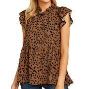 Women Ruffled Sleeve Button Closure Polka Dots Printed Pleated Shirt