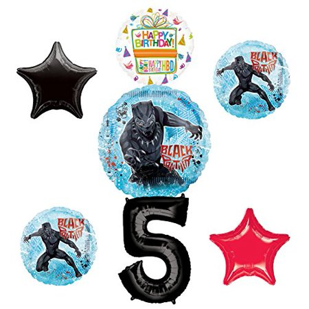 Black Panther Party Supplies 5th Birthday Balloon Bouquet Decorations - Red And Black 50th Birthday Decorations