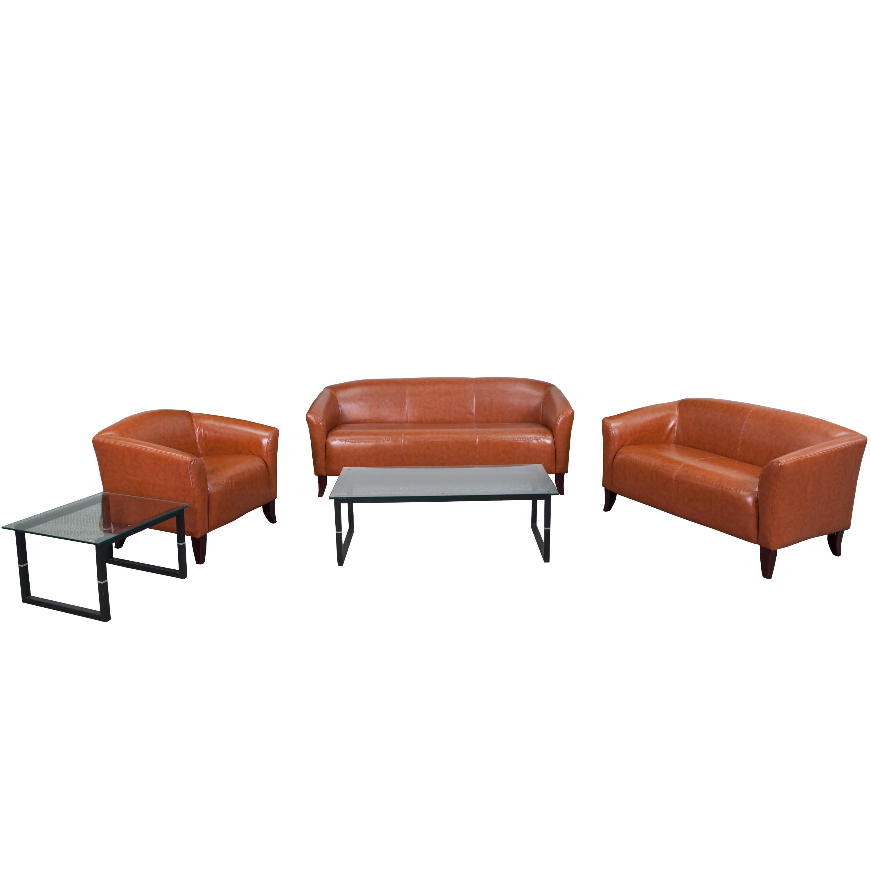 Flash Furniture Hercules Imperial Series 3 Piece Leather Reception Set Walmart Com Walmart Com