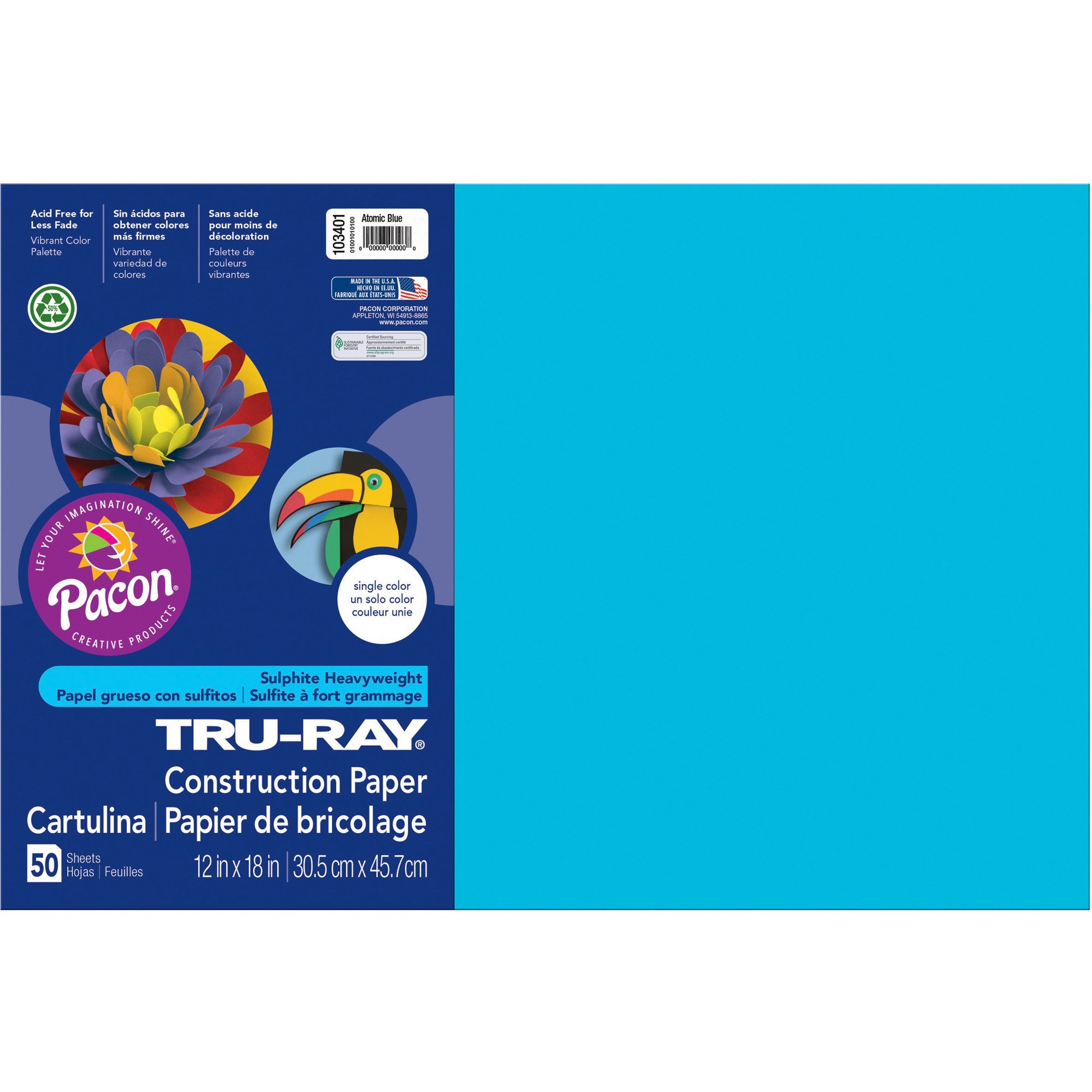 Tru-Ray, PAC103401, Construction Paper, 50 / Pack, Atomic Blue