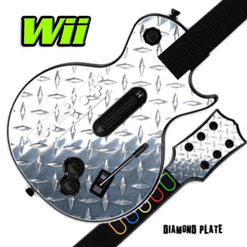 Mightyskins Skin Decal Cover for GUITAR HERO 3 III Nintendo Wii Les Paul - Diamond Plate