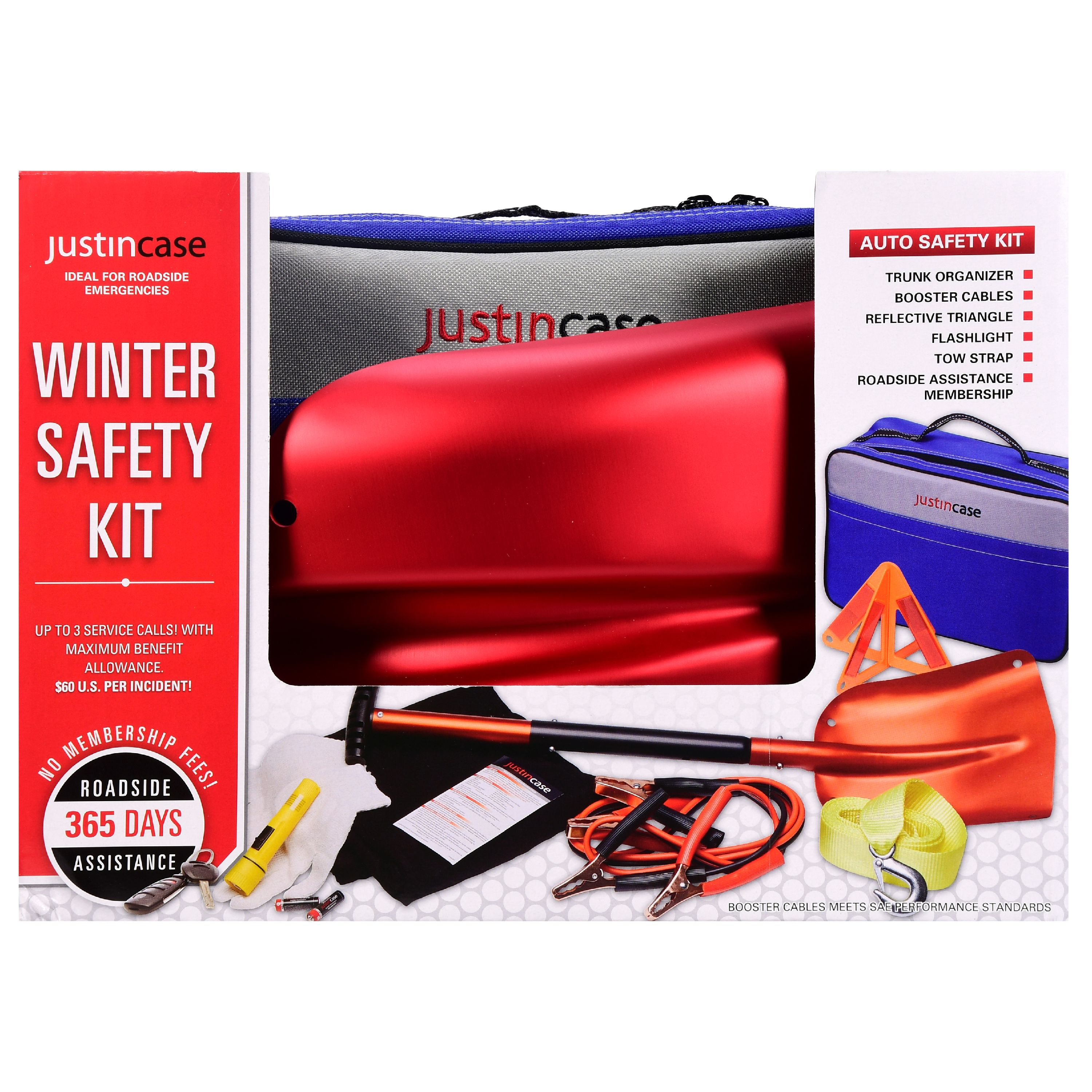 Justin case winter car safety kit aluminum shovel factory sealed roadside emerg