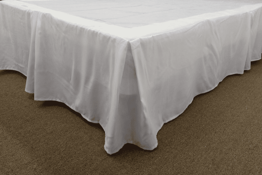 Qutain Linen Tailored Bedskirt Dust Ruffle Solid White Full Size by