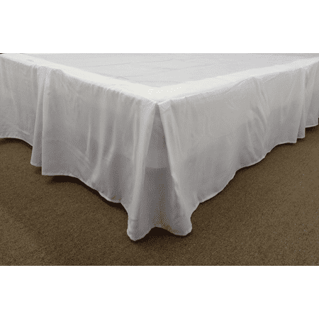 Qutain Linen Tailored Bed Skirt Dust Ruffle Solid White Twin Size