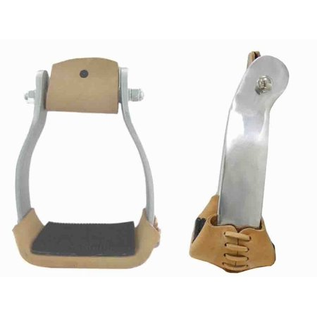 - Offset Aluminum Roping Stirrups Leather Tread with Rubber Pad 3
