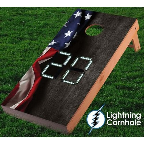 Lightning Cornhole Electronic Scoring Hanging American Flag Cornhole Board