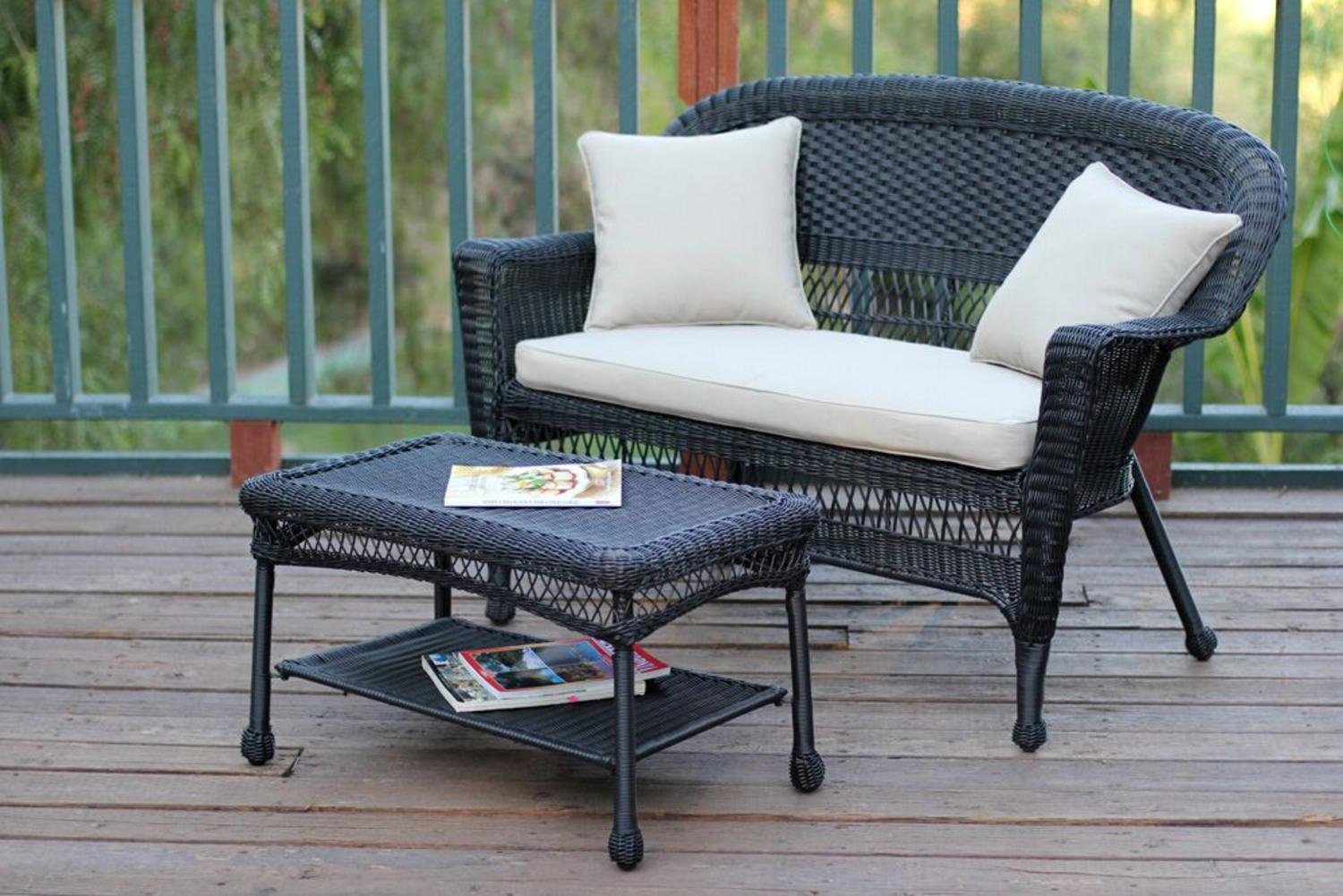 2-Piece Oswald Black Resin Wicker Patio Loveseat and Coffee Table Set Tan Cushion by CC Outdoor Living