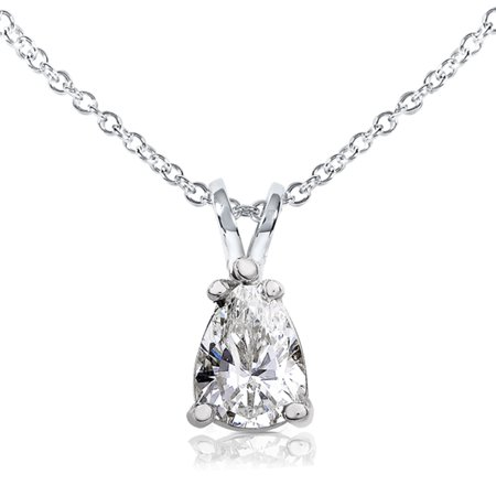 Pear Shape Moissanite Solitaire Pendant 1 CTW 14k White
